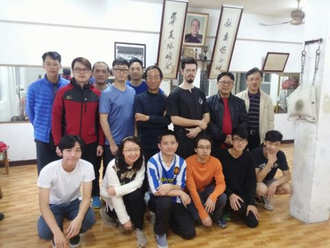 Anton Tou, John Lapham, Henry Ho (and class), in Ho Kam Ming's old school in Macau.